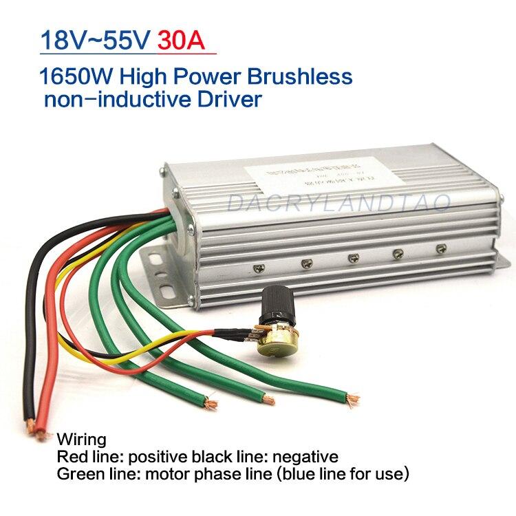 No Hall 1650W DC Brushless Motor Controller Regulation Switch Driver Board Electric Governor 30A DC 18V 24V 36V 48V